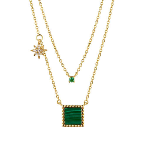 Square natural malachite jewelry multi layered 18K gold plated 5A zircon necklace