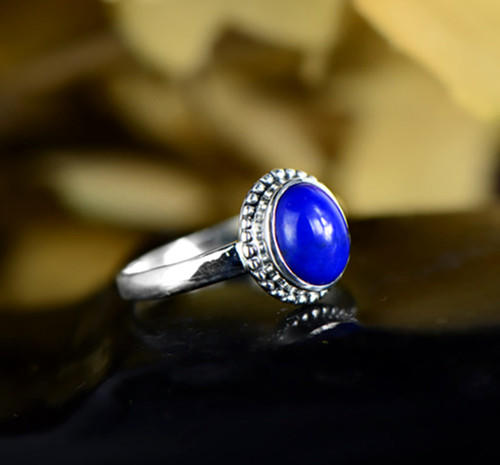 Handmade womens lapis lazuli gemstone band ring high quality lapis stone antique oval finger rings eternity love engagement jewellery
