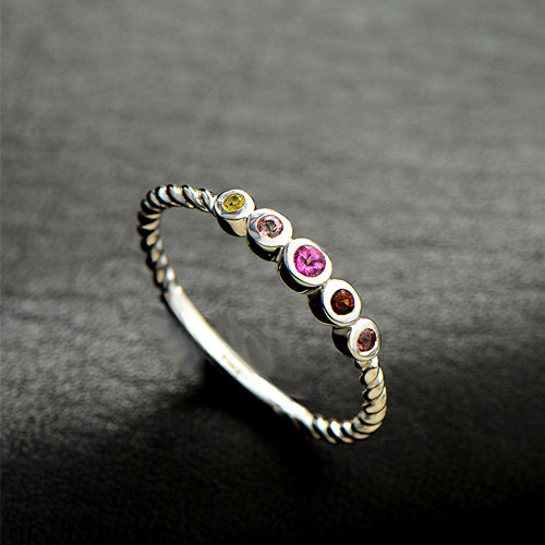Unique multi color natural tourmaline gemstone high jewellery vintage 5 stones line band rainbow ring in sterling silver