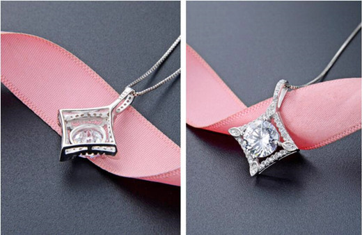 Diamond concave square pendant necklace wholesale name necklaces and personalised jewellery china
