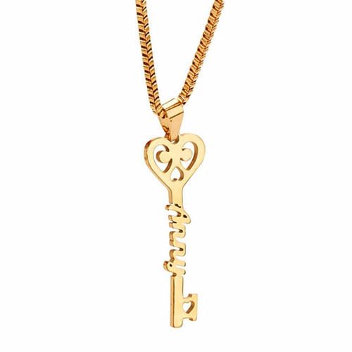 14k gold plated nameplate pendant necklace silver personalized heart-shaped key jewelry any name necklace wholesale