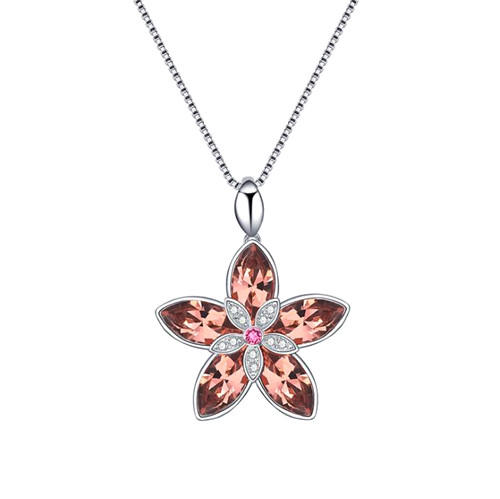 Austrian crystal flower pendant diamond necklace in silver with box chain