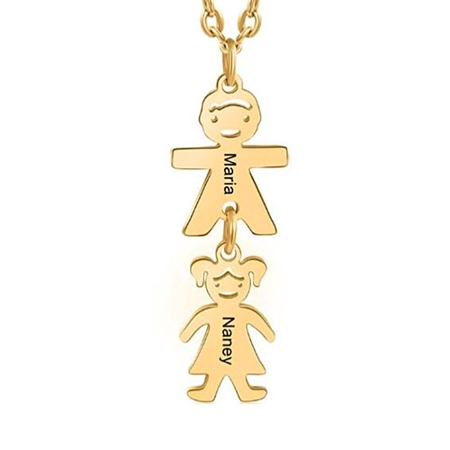 Handcrafted name engraving dolls jewelry boys and girls pendant necklace with kid charms