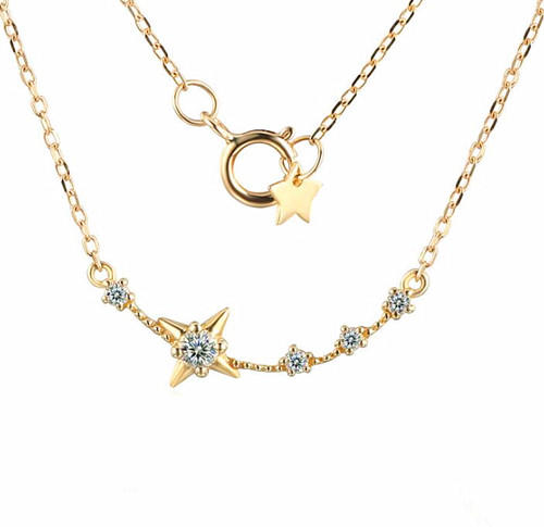 9K/14K/18K gold Polaris stars jewellery natural topaz pendant necklace
