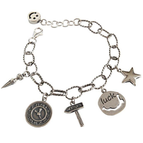 Antique style handmade 925 silver coin smile face star charm chain bracelet