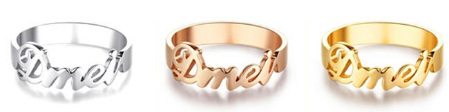 Custom made couples name plate rings gold color personalized jewllery