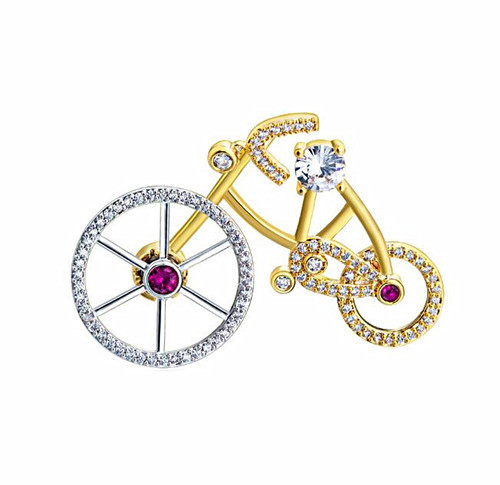Real gold plated brass jewelry brooch custom made bicycle shape zircon breastpin