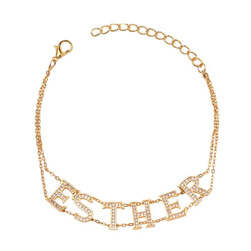 Custom-made capital English letter choker necklace with zircon doule chains personalized dimonds name jewelry