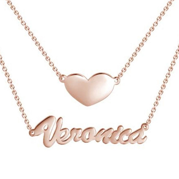 Two layers personalized heart name pendant layered nameplate necklace 14k gold plated silver
