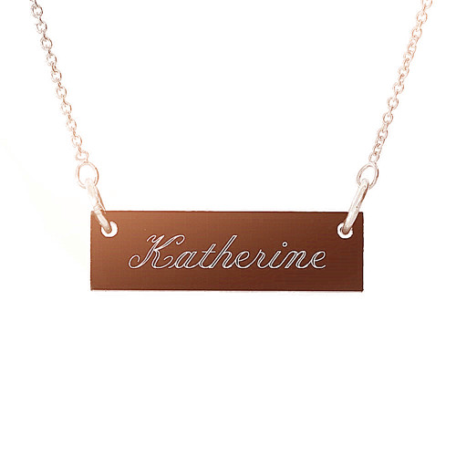 Stylish name engraving jewelry customized acrylic bar pendant necklaces