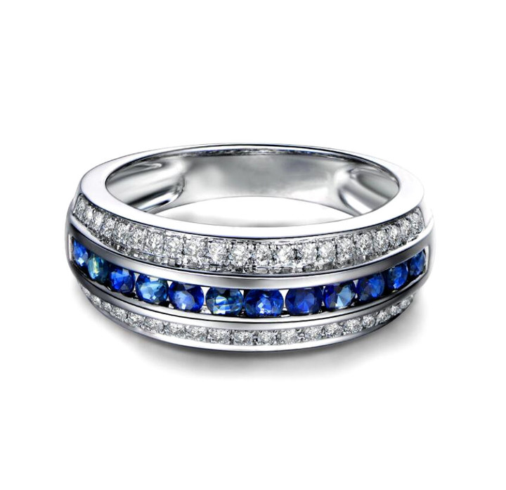 Luxury colour stone diamond ring platinum plated 925 sterling silver band for women