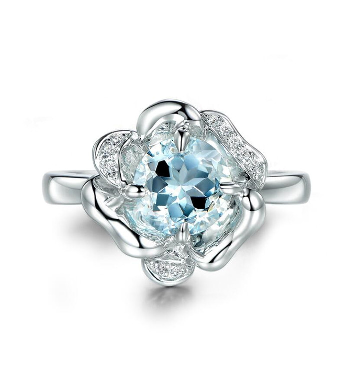 Personalised 925 sterling silver jewellery flower top blue topaz diamond finger ring