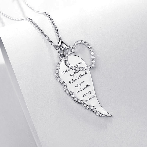 Customized angel wing charm text engraved personalised necklace with heart pendant