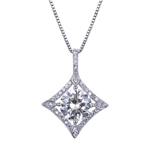 Concave square pendant round and princess cut diamond necklace in sterling silver wedding jewelry