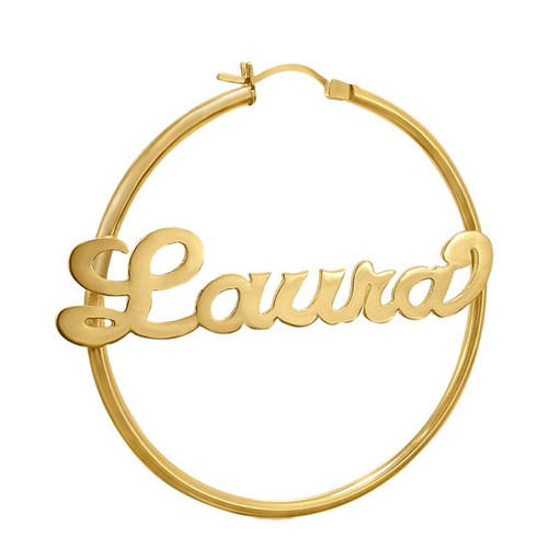 14k gold long dangling name earrings hoop  big circle nameplate earring personalized any name jewellery