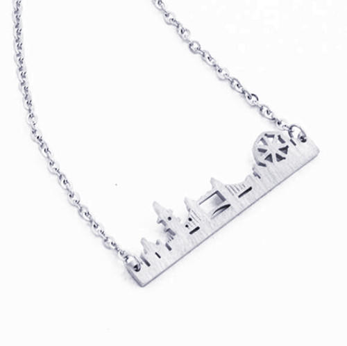 Custom made ciry buildings landscape jewelry factory customized necklace in silver