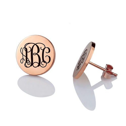 Custom personalized wedding stud earrings silver monogrammed post studs earrings letter initial monogram earrings