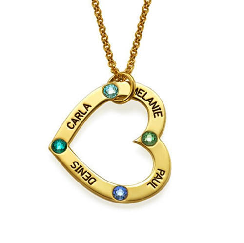 Gold heart pendant personalised name necklace with birthstone 925 sterling silver custom made couple's heart name jewellery