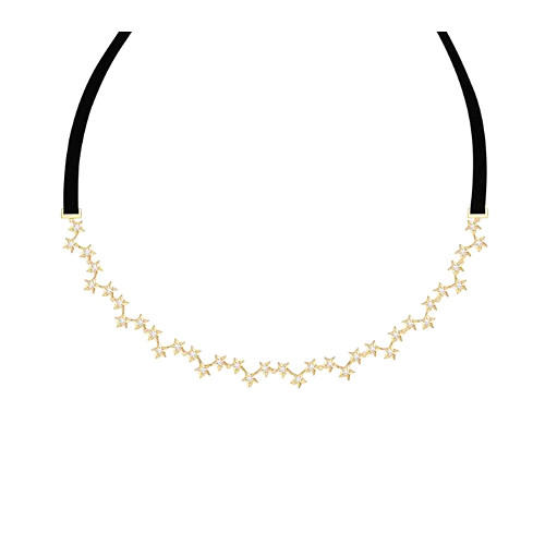S925 silver diamonds choker necklace wholesale 2 in 1 multi stars hair accessories