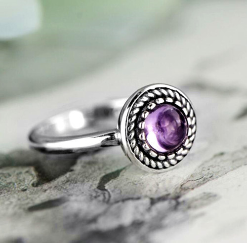 Antique 925 sterling silver and purple amethyst rings elegance emerald cut oval green amethyst stone ring vintage jewelry wholesale factory