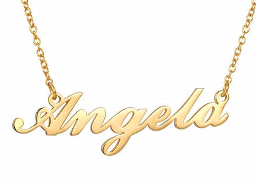 24K gold plated name plate necklace jewelry