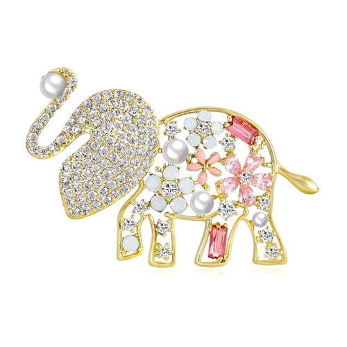 Unique design animal jewelry lovely elepant pins pearls and zircon brooches