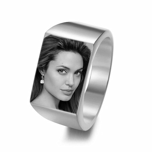 Customized female jewelry photo printing rings text image engraved big band rings