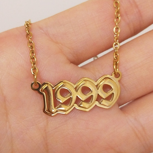Personalised hiphop jewelry real gold plated name and year pendant necklace