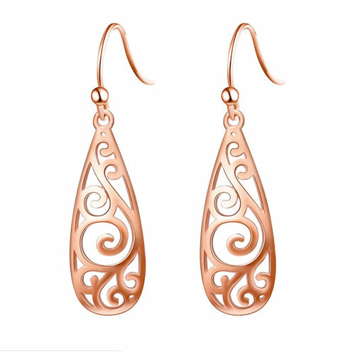 Rose gold plated real silver earrings hoops cool earrings for women wholesale