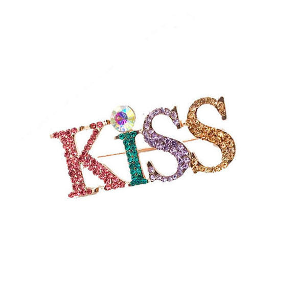 Customize crystal romantic women fashion colored diamonds jewelry word letter Rhinestone brooches pin clear fancy multi-color stones monogram brooch