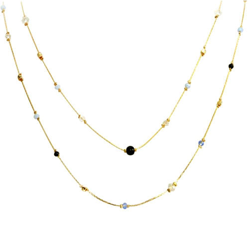 Double layers long gold plated chain necklace fashion beaded jewelry