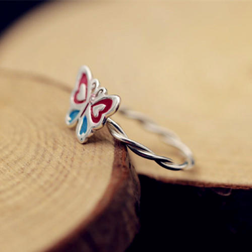 925 sterling silver wire custom enamel jewelry personalized butterfly ring DIY accessories wholesale
