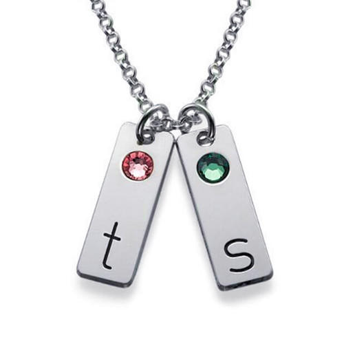 Double charm pendant 2 bar letter engraved necklace customized jewelry in sterling silver