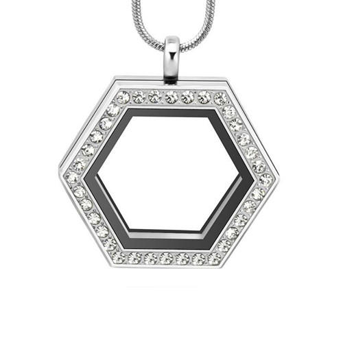 Hexagon diamond locket jewelry vendor wholesale personalized semi-mount solitaire style pendant supplier manufacturer china