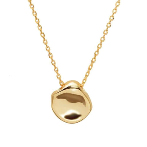 Geometrical shaped sterling silver pendant gold plated shiny metal luster necklace for women