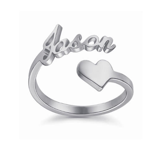 Personalized open name ring heart rings sterling silver jewelry