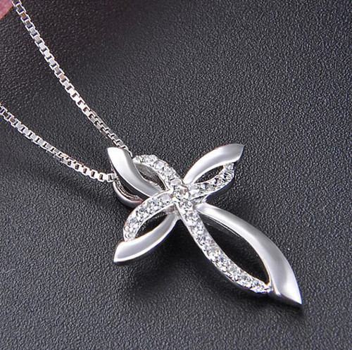 3D cross necklace in sterling silver wholesale body jewelry china