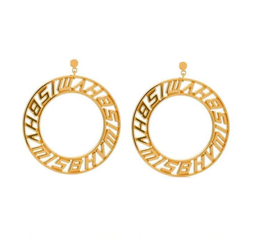 18K gold plated big fashion boutique personalized letter circle brass earrings