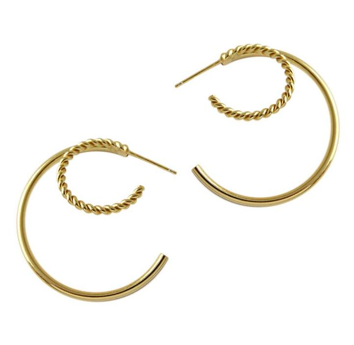 Gold plated double half circle earrings studs in 925 sterling silver