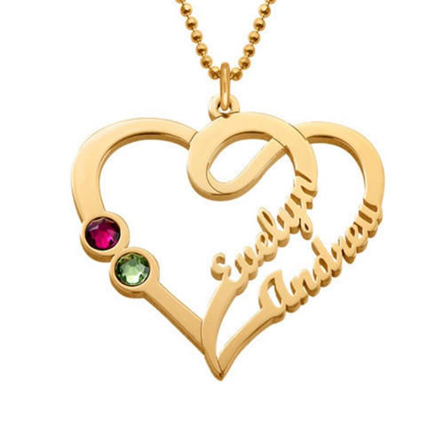 18K gold plated personalized jewelry wholesale 925 sterling silver heart-shaped two name plate necklace with birthstone