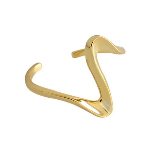 Creative design gold and silver jewelry adjustable size water wave rings