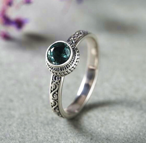Baroco style green quartz crystal ring 925 sterling silver couple rings vintage fashion jewelry