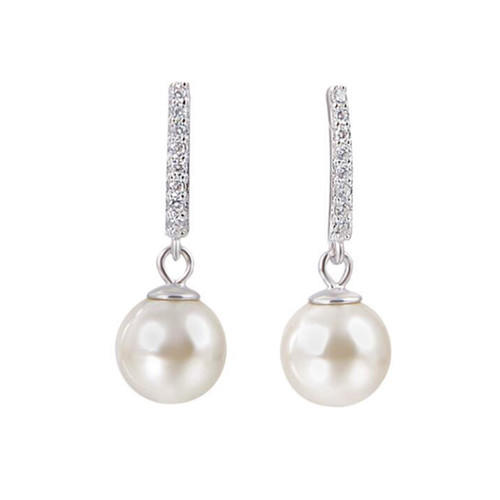 Sterling silver and cubic zirconia vintage long large pearl drop earrings wedding jewelry gift for bridal