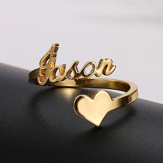 Handwriting name ring with heart personalized name jewelry wholesale in gold plating