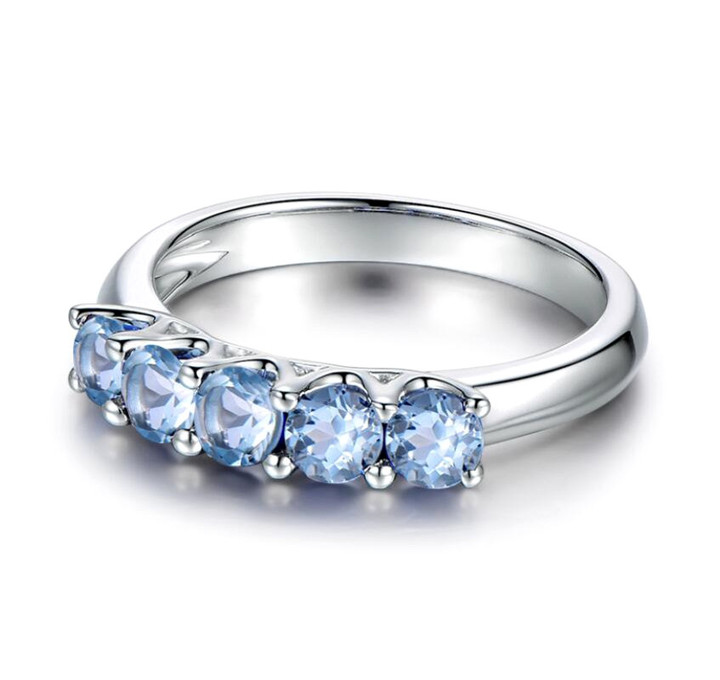Natural blue topaz jewellery 5 stones line band diamond ring in 925 sterling silver
