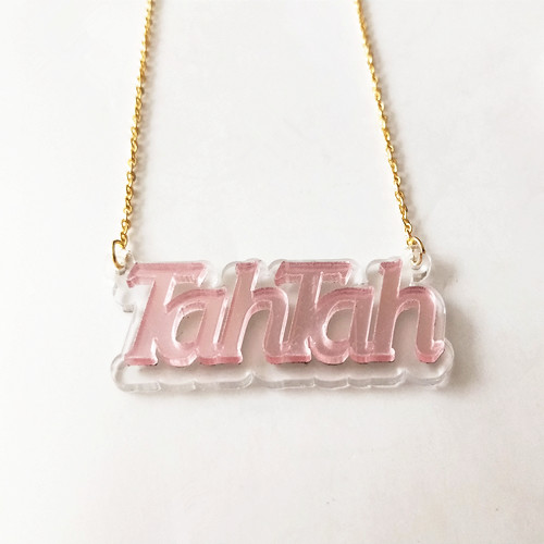 Personalized acrylic jewelry wholesale two tone gold color nameplate necklace