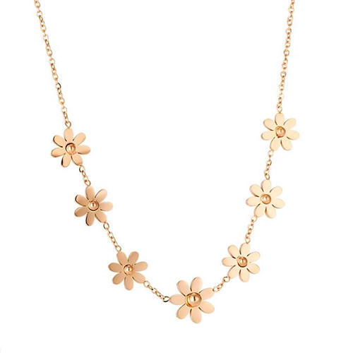 New stainless steel fine jewellery OEM rose gold plated small flower charm O chain necklace