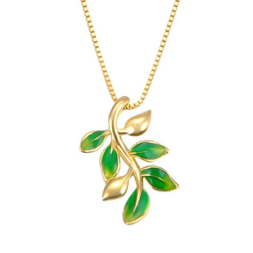 Gold plated olive branch pendant 925 sterling silver necklace custom made fine jewelry wholesale