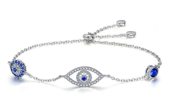 Evil eye charm bracelet with diamonds sterling silver bangles wholesale supplier china