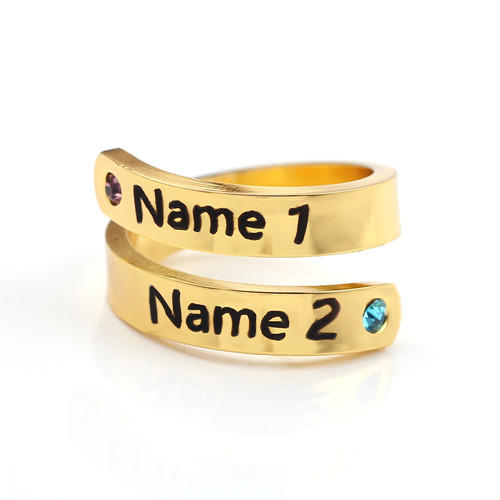 Birthstones rings for women name jewelry custom birthstone rings two names engraving